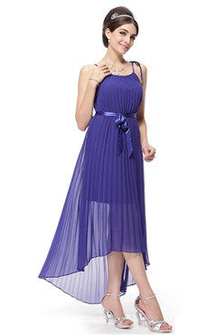 Purple Spaghetti Straps Pleated Hi-Lo Dress With Satin Belt