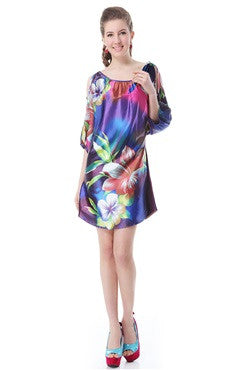 Beteau Over-Sized Floral Paint Puff Sleeve Night Out Dress