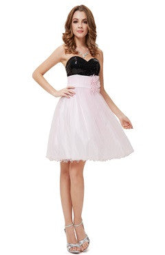 Strapless Black Sequined Pink Tulle Cocktail Dress