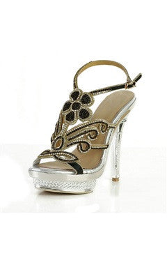Upper Beaded Flower Eiffel Tower Heel Platform Sandals
