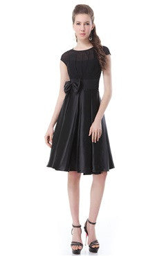 Black Vintage Pleated Bust Satin Dress With Bow Embellishment