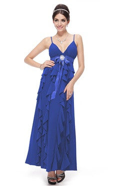 Blue Spaghetti Straps Ruffled Maxi Dress With Beading Detail