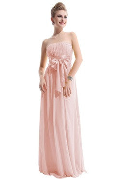 Pink Ruched Bust Bridesmaid Dress With Bow Sash