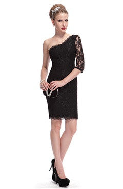 Black One Shoulder One Lace Pattern Sleeve Sheath Dress