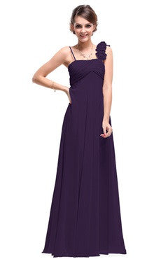 Dark Purple Rosettes Shoulder Strap Ruched Bust Long Dress