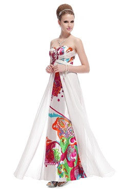 Floral Print Rhinestones Padded Evening Dress