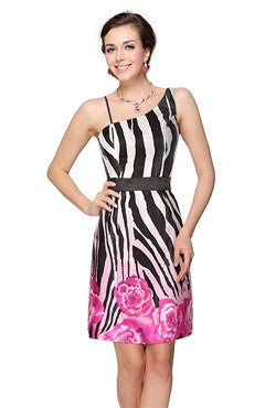 Zebra Floral Print One Shoulder Cocktail Dress