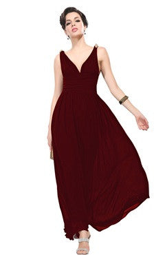 Burgundy V-Back Ruched Bust & Waistband Chiffon Dress