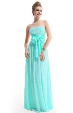 Pleated Top Bow Embellished Aqua Bridesmaid Dress