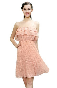 Spaghetti Straps Frill Bust Short Chiffon Dress