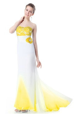 Strapless Yellow Trailing Evening Party Dress