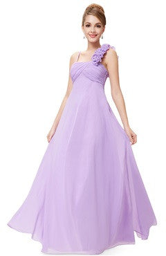 Light Purple Rosettes Shoulder Strap Ruched Bust Bridesmaid Dress