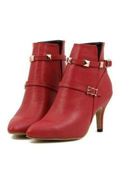 Red Faux Leather Ankle Boots