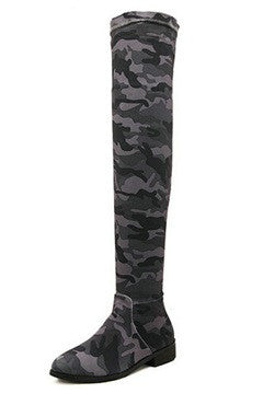 Camouflage PU Leather Low Heels High Boots