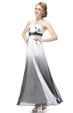 Sweetheart Neck Gray Faded Chiffon Dress With Beading Detail