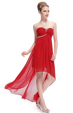 Red Strapless Rhinestones Ruched Bust Hi-Lo Dress