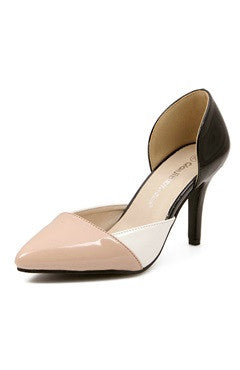 Color Block Two Part Faux Patent Leather Heels