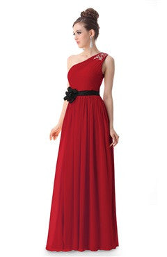 Red Rhinestones Decorated One Shoulder Party Dress