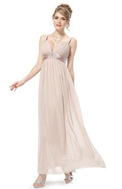Ruching Bust Straps Blush Maxi Formal Dress