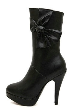 Black Stiletto Bows Detailed PU Short Boots