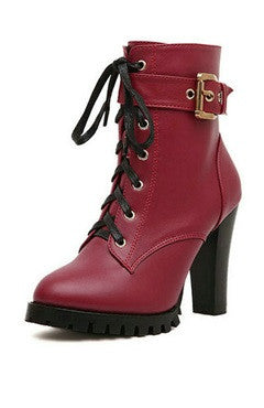 Burgundy Lace-Up Chunky Heels PU Ankle Boots