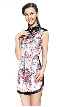 Lace High Neck Floral Printed Vintage Sheath Dress