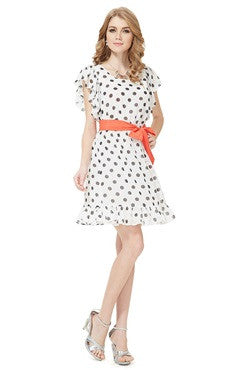 Adorable Polka-dotted Butterfly Sleeve Chiffon Homecoming Dress