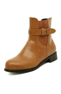 Brown PU Leather Elastic Band Short Boots