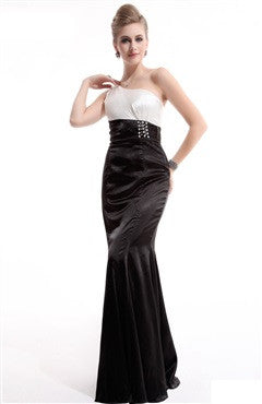 Asymmetric Straps Black Tie Event Dress With Crystal Beaded Waistband