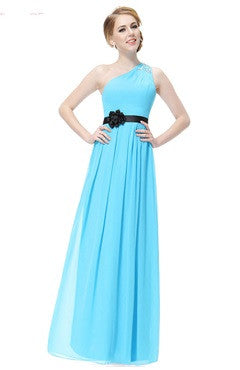 Bright Blue Rhinestones Decorated One Shoulder Long Dress