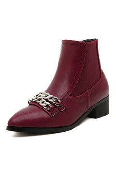 Burgundy Low Heels Chains Detailed PU Short Boots