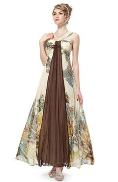 One Shoulder Oversized Print Chiffon Dress With A Sash