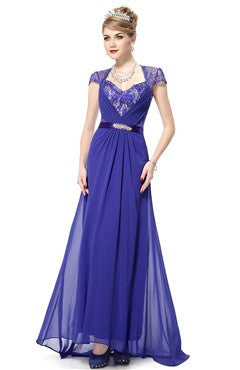Capped Cutback With Sequins Applique Chiffon Violet Dress