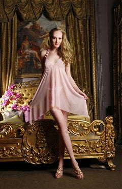 Chemise/Slip Pinks Sets Mesh Sexy Lingeries