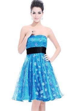 Floral Strapless Sashes Bubble Homecoming Dress