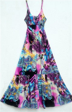 Abstract Print Spaghetti Straps Empire Maxi Dress