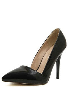 Faux Leather Black Pointy Toe Stiletto High Heels