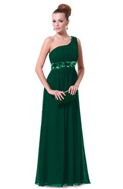One Shoulder Pleated Top Sequin Waist Evening Dress, Forest Green