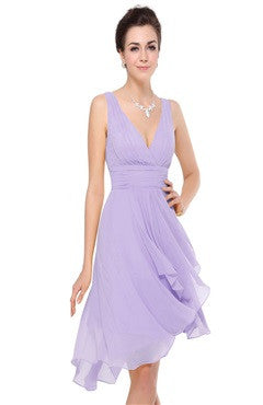 V Neck Backless High-Low Chiffon Dress