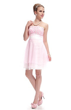 Pink Appliqued Bust Chiffon Bridesmaid Dress