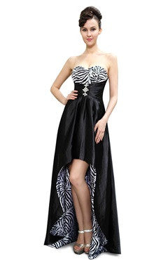 Zebra Prints Sweetheart Open Back Hi-Lo Prom Dress