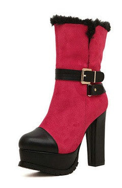Red And Black Platform Chunky Heels Boots