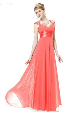 Coral Sequined Shoulder Back Cutout Trailing Dress