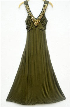 Stunning V-Neck Ruched Bodice Empire Maxi Dress