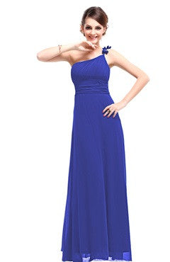 Blue One Shoulder Ruched Bust Dress With Bow Detail