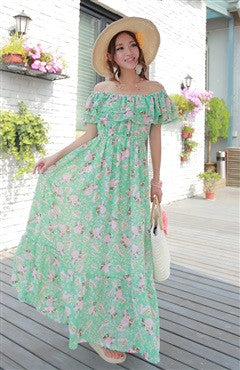 Floral Printed Off-the-Shoulder Maxi Dress