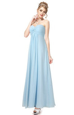 Sky Blue Strapless Sweetheart Ruched Bust Long Dress