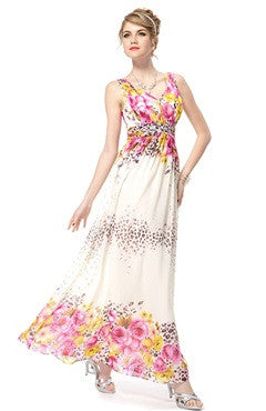 Double V-Neck Floral Printed Chiffon Long Dress