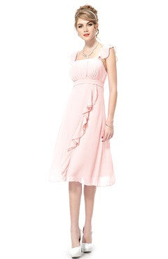 Pink Flounce Shoulder Ruched Bust Ruffled Calf-Length Party Dress