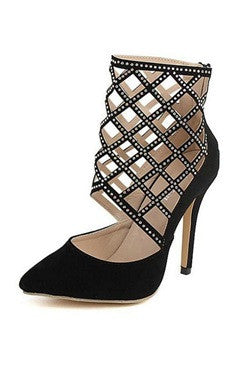 Black Caged Ankle Pointed Stiletto High Heels